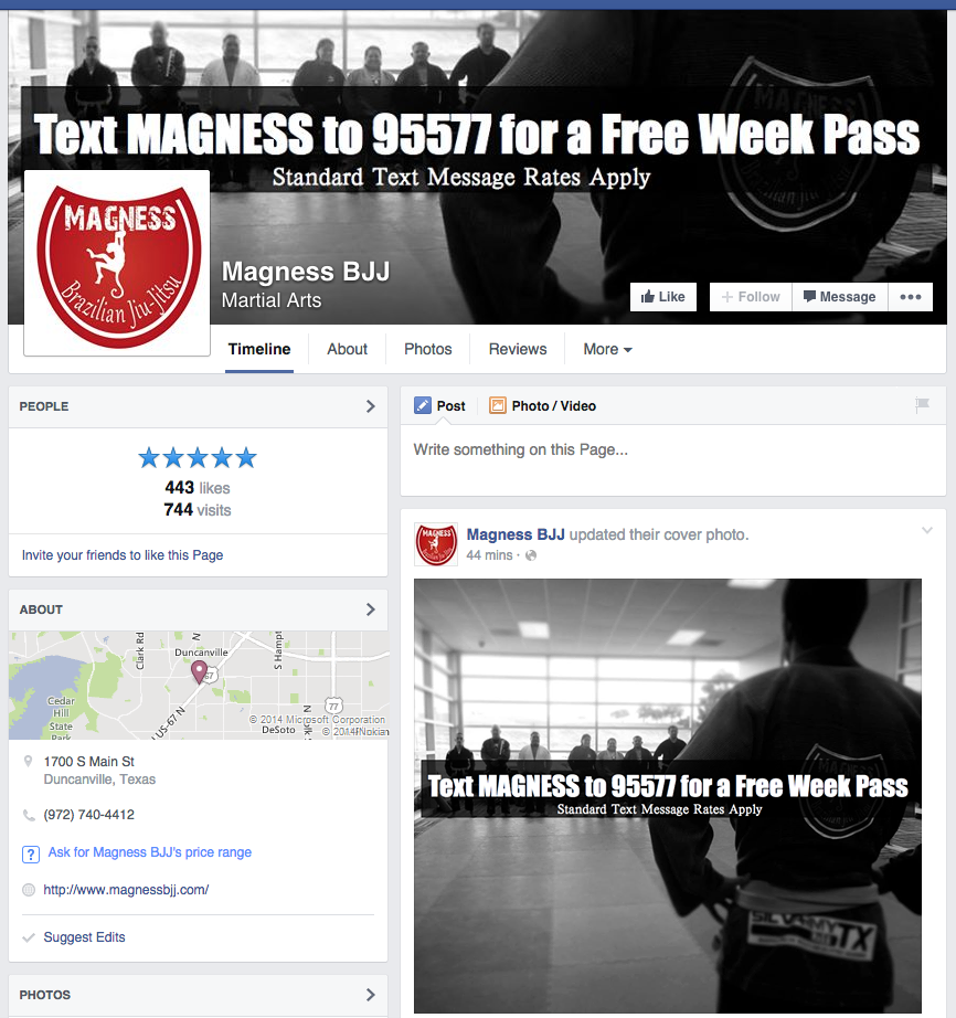 Magness BJJ using FitnessTexter on their Facebook page