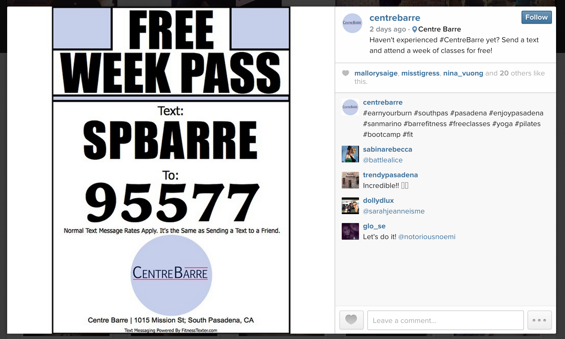 Centre Barre using FitnessTexter on Facebook